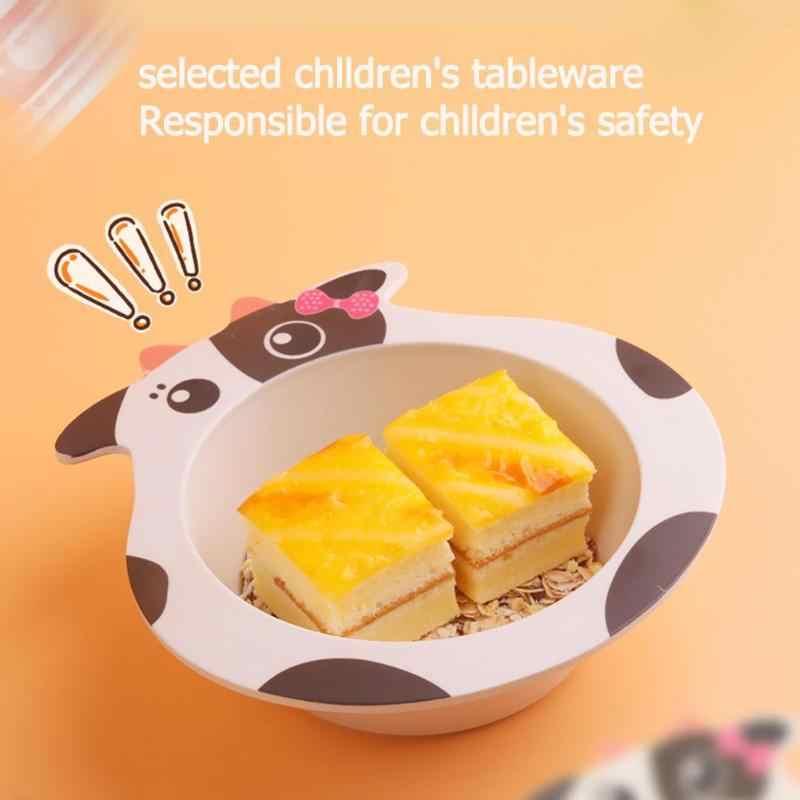 เด็กปลอดภัยเด็กแบบพกพาชามไม้ไผ่เด็กการ์ตูนเด็กชุดอาหารเด็กน่ารักการ์ตูนผลไม้แผ่น