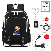 Detective Conan Motif with USB Charging Style Teenager Shoulders Bag Cartoon Character Backpack Travel bags Notebook bag