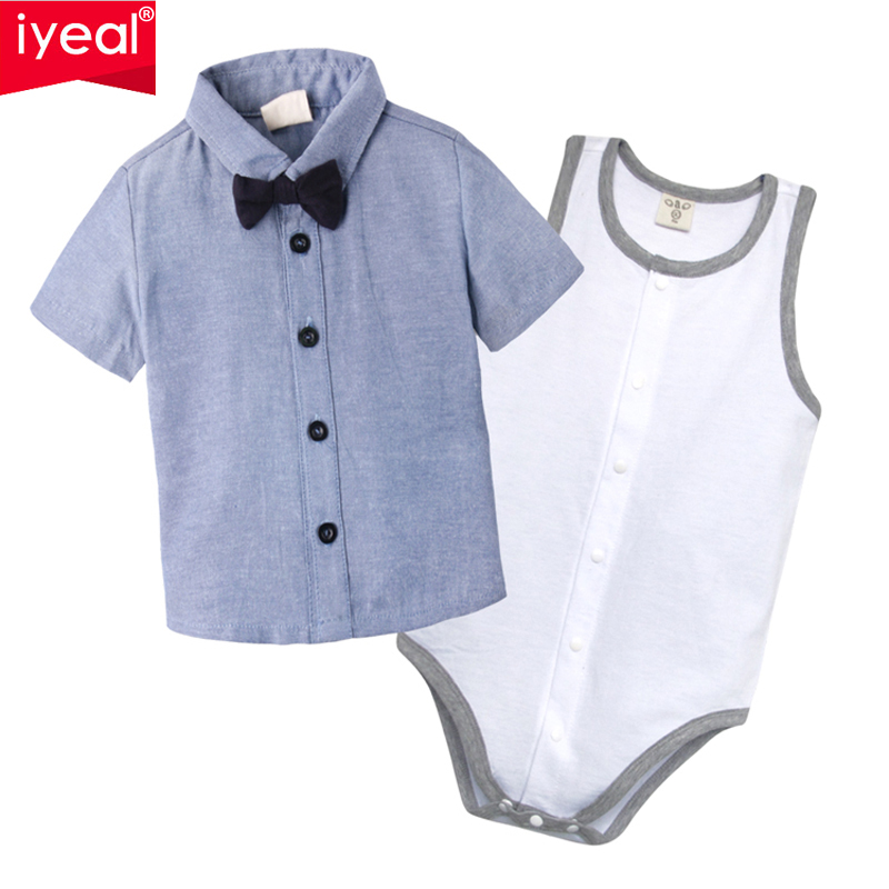 IYEAL Baby Boy Clothes Summer New Brand Cotton C Clothing Suit For Newborn Baby Bow Tie Shirts + Bodysuit for 0-18 M