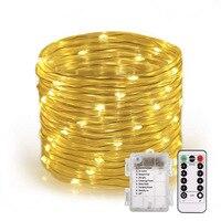 Luces de cuerda LED a batería luces de cuerda impermeables con temporizador remoto luces de Firefly luces de hadas regulables