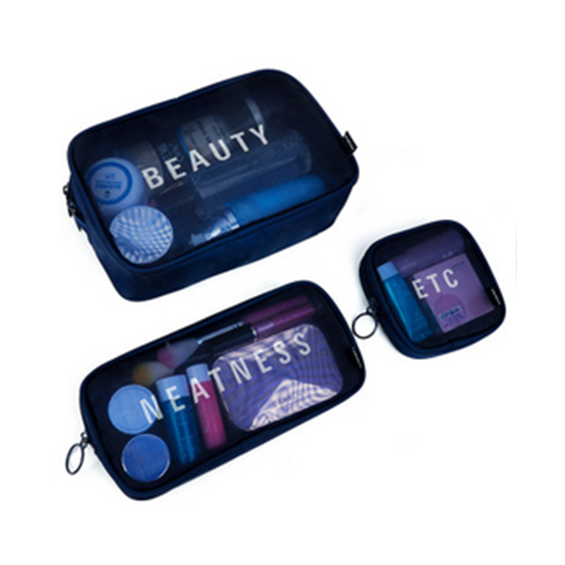 Aresland Transparent Waterproof Cosmetic Bag Clear Travel Women Makeup Storage Pounch Bags LadIes Make Up Toiletry Bag Black
