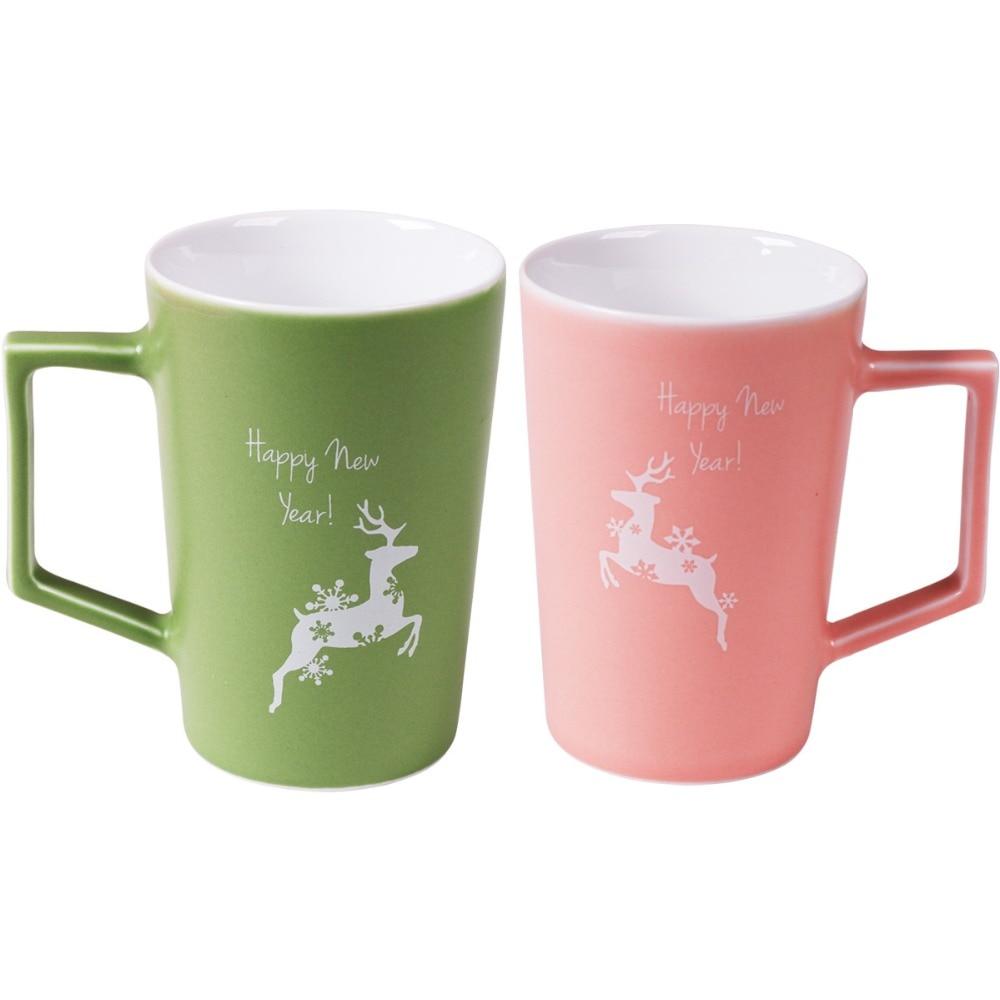 2pcs Suits Reindeer Christmas mug 410ml office mugs custom ceramics ...