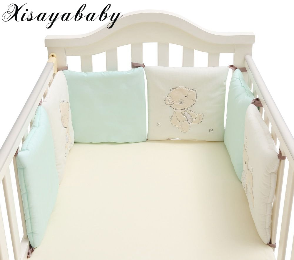XISAYABABY New style cartoon bear newborn bed bumpers in the crib Breathable Cotton Baby Crib Bumpers 30cm*30cm*6pcs/set циркуль new 1 1 30 1cm 30cm