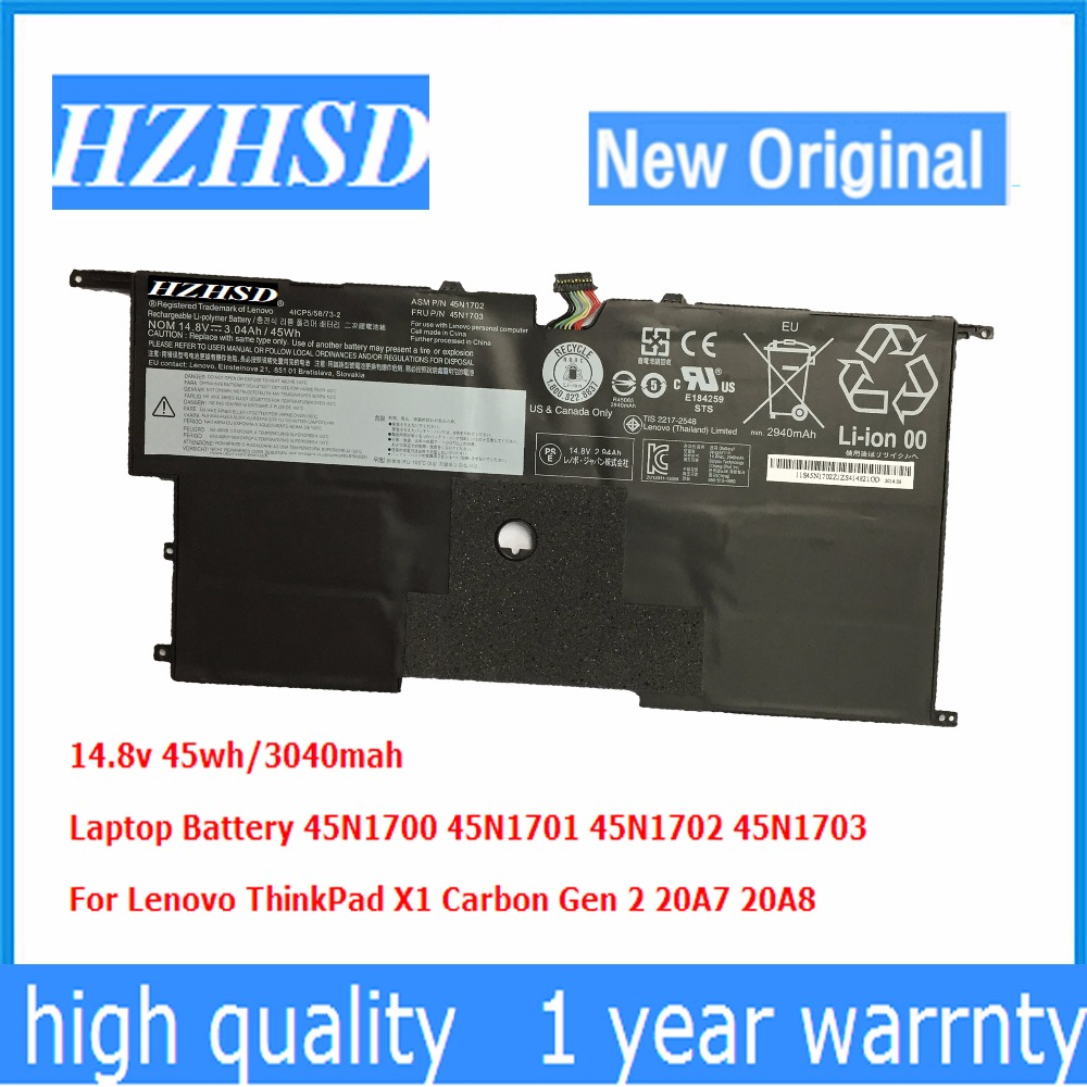 14.8V 45wh New Original X1 Laptop Battery 45N1700 45N1701 45N1702 45N1703 For Lenovo ThinkPad X1 Carbon Gen 2 20A7 20A8