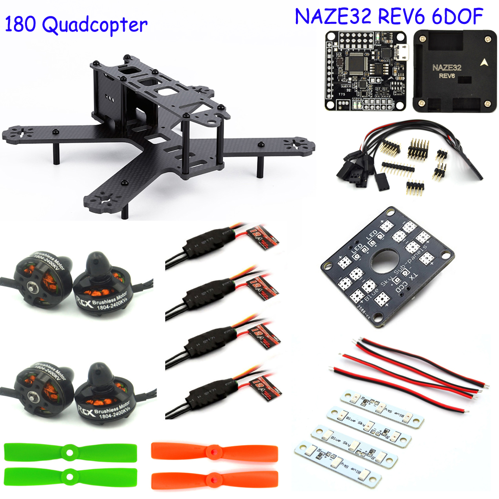 fpv RC airPlane 180mm Carbon fiber 4-axis Frame Naze32 Rev6 6DOF 1804 12A ESC for QAV180 quadcopter