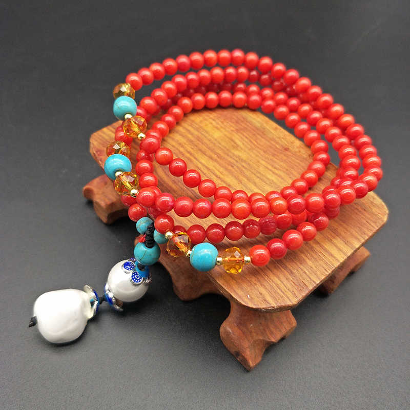 Shuangsheng 2018 new 5mm red coral necklace women bohemian jewelry national wind necklace gift 70cm