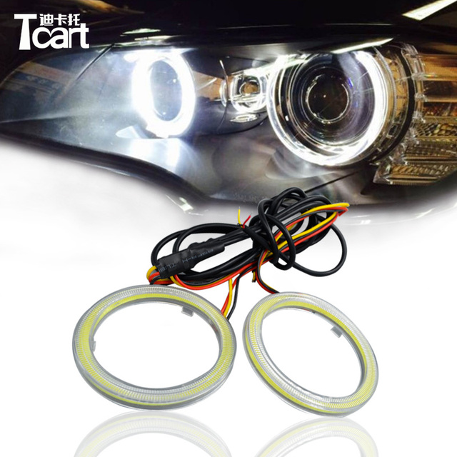 Tcart 70mm Dual color angel eyes ring cob led light 12V cob with led ...