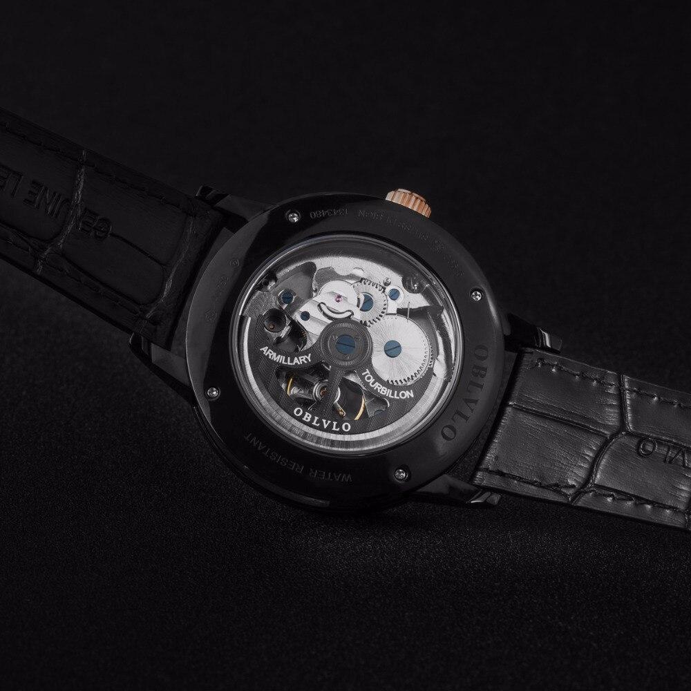 OBLVLO Designer squelette montres pour hommes mode noir acier automatique montres en cuir véritable bande montres analogiques VM 1 - 5