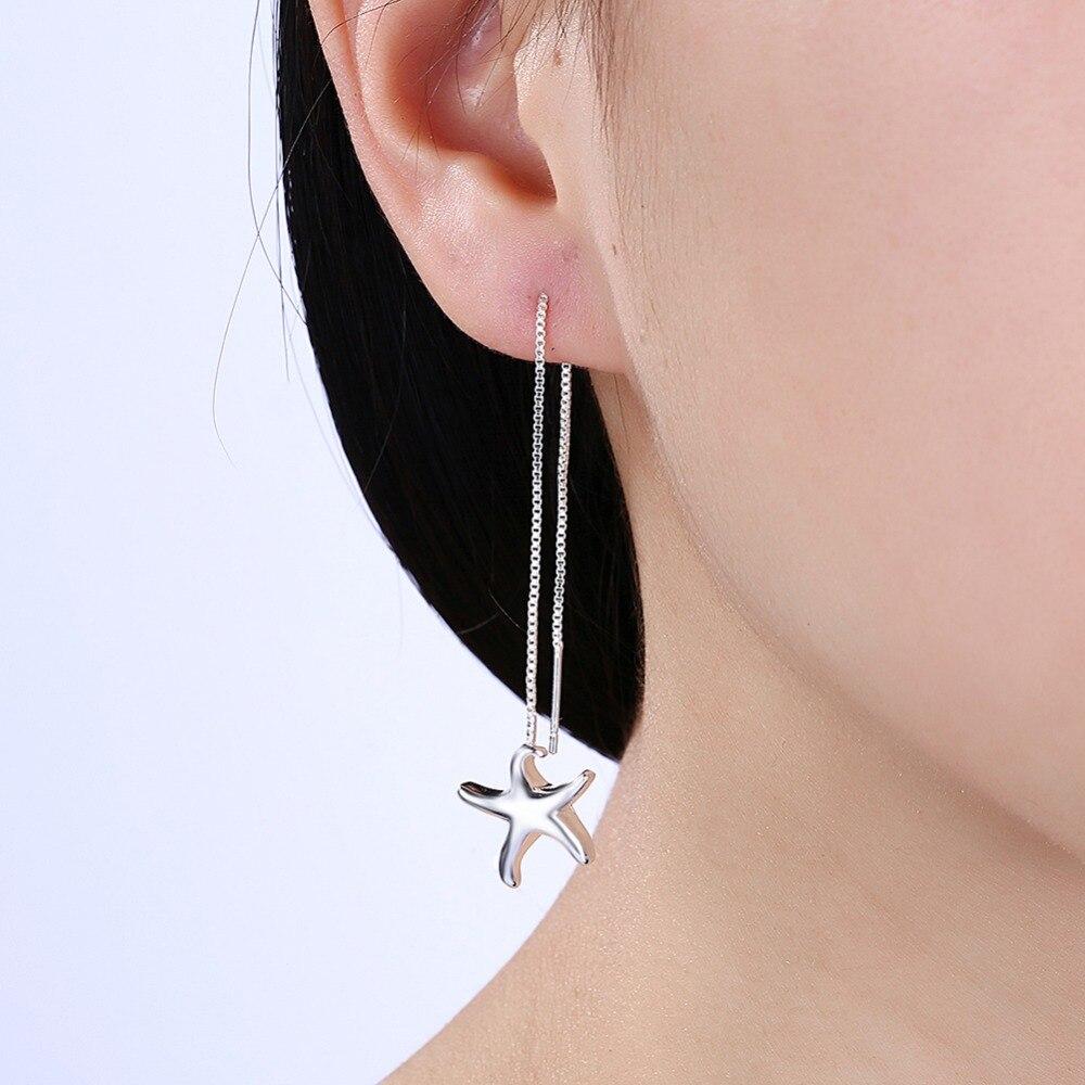 2018 new ladies fashion pop classic jewelery starfish pendants 925 silver wholesale E906