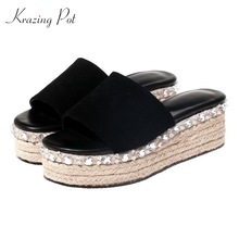 Krazing Pot 2018 sheep suede bling rhinestone applique decorations thick  bottom high heels women sandals solid 84deff6de5f6