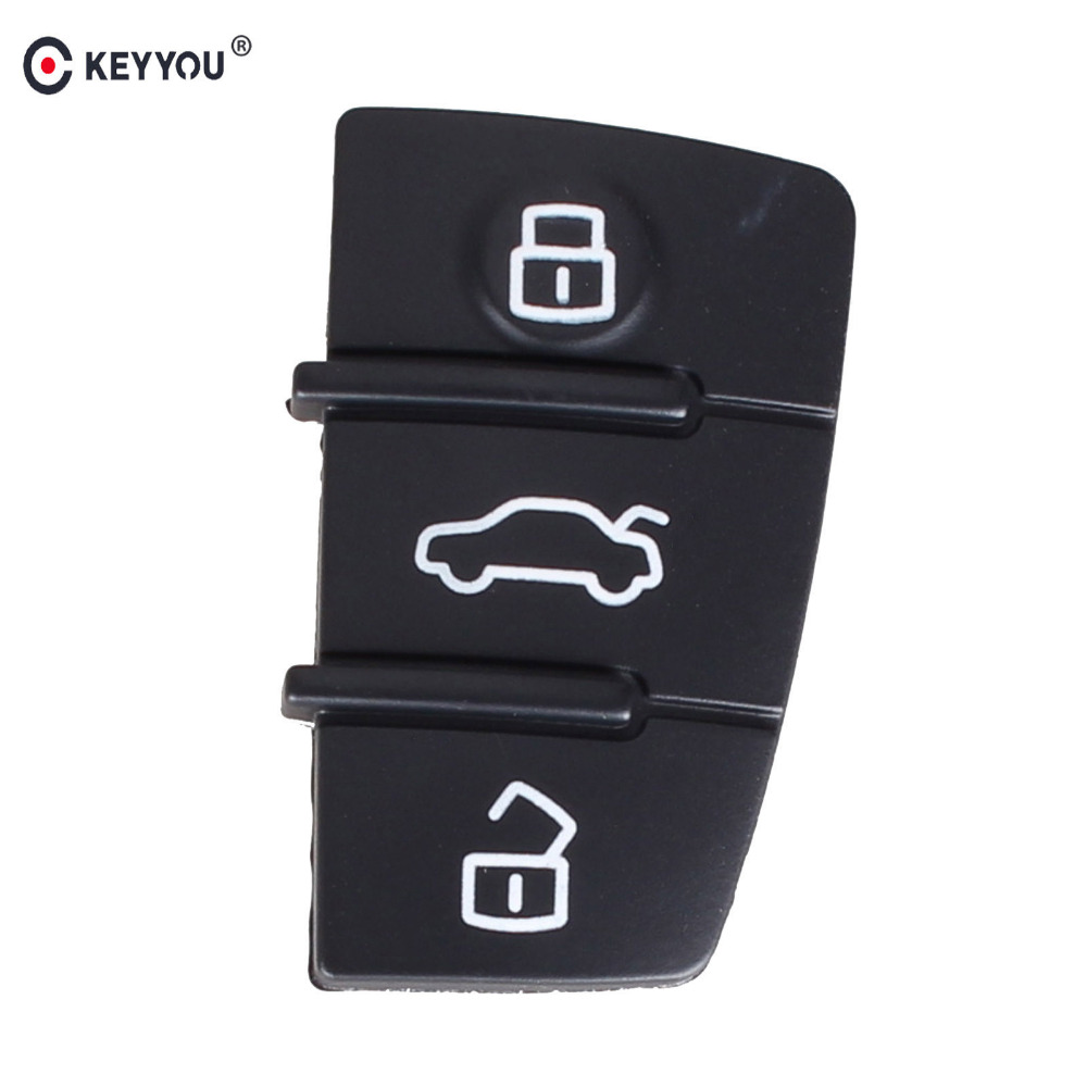 KEYYOU 10pcs/lot 3 Button Pad Rubber Remote Key Fob For Audi A3 A4 A5 A6 A8 Q5 Q7 TT S LINE RS