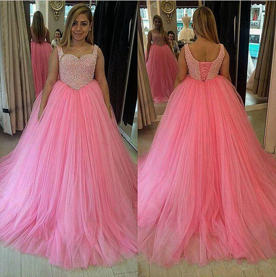 Custom Made Pink Tulle 2016 New Long Ball Gown Plus Size Prom