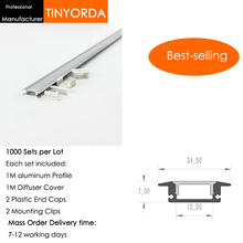 Tinyorda 1000Pcs (1M Length) Led Alu Profile  Channel Profil for 12mm LED Strip Light 1M channel