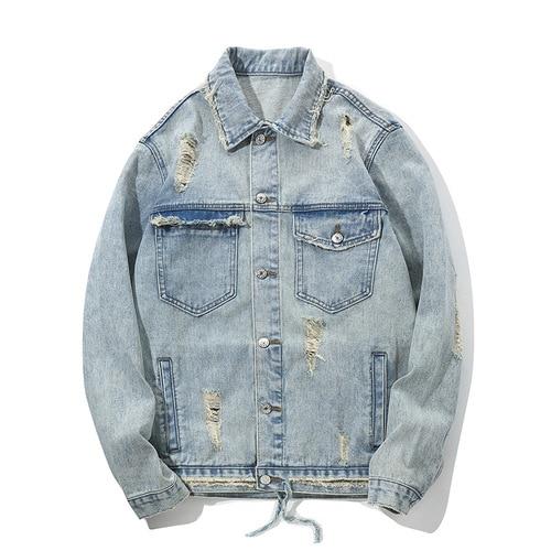LISER Denim Jacket Men's Hip Hop Jacket Letter Printing Loose Streetwear Harajuku Veste Homme Lahore