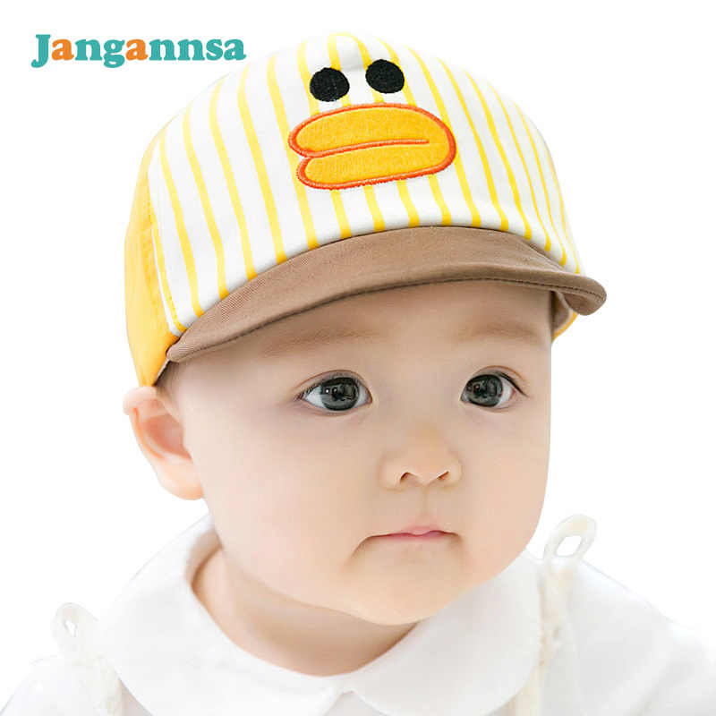 8d319f30 Cartoon Baby Boys Hat Yellow Duck Striped Cap Cotton Bear Boys Sun Caps  With Ears Cute