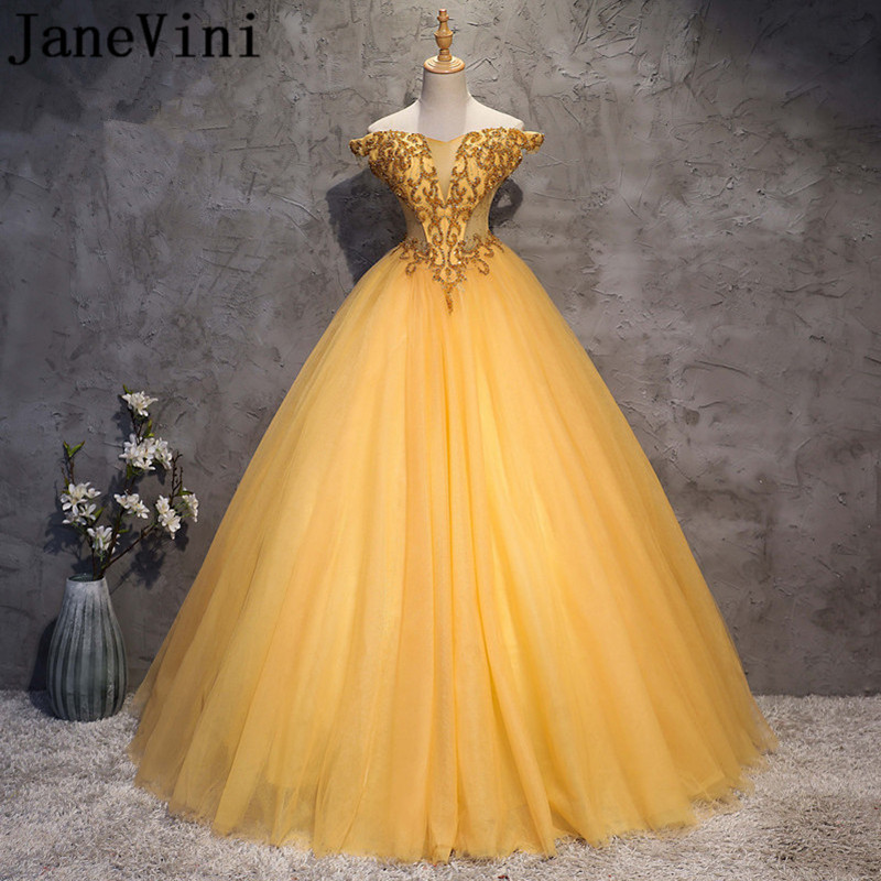 JaneVini Luxury Beaded Gold Ball Gown   Prom     Dresses   2019 Off Shoulder Floor Length Elegant Puffy Tulle Pageant Formal Party Gowns
