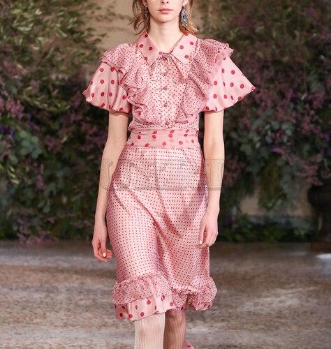 Cuerly 2019 Top Quality Runway Summer Dress Womens Fashion Girls Party Boho Beach Pink Vintage Elegant Chic Dot Chiffon
