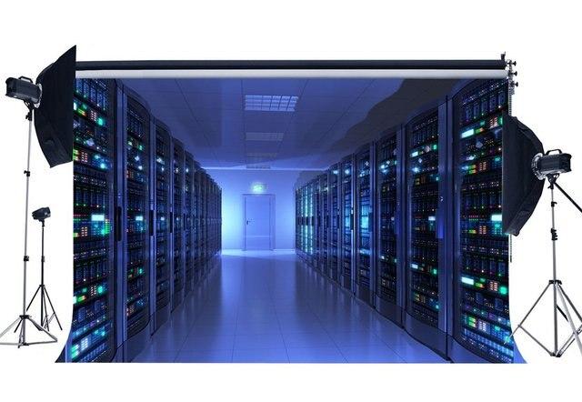 Salle de surveillance toile de fond bleu brillant lumières casier Shabby marbre sol créatif papier peint photographie arrière plan enfants adultes