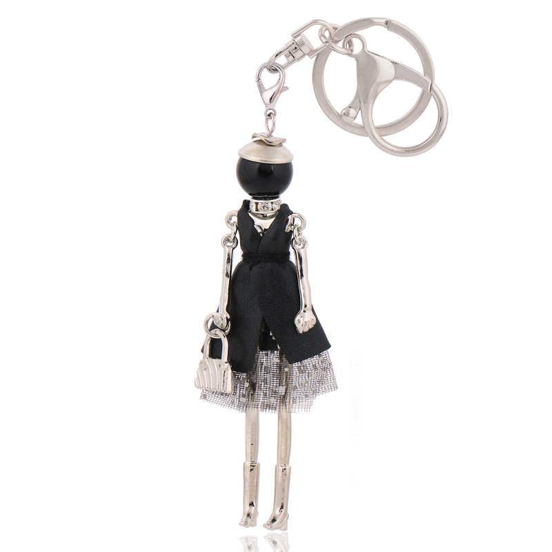 Chaveiros de moda frete grátis nova bonito boneca saco cadeia encantos do carro do anel chave & pingente para mulheres bolsa kryrings