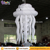 Free shipping 1.6M giant inflatable jellyfish for ocean theme party decoration all white hanging jellyfish balloon toy for sale