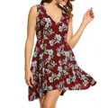 Beach Womens Clothing Boho Sleeveless Deep V Neck Sexy Plus Size Summer Print Short Sundress Lady Party Tank Dress TT2321