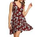 Boho praia roupa das mulheres sem mangas decote em v profundo sexy plus size verão impressão curto vestido de verão lady partido tanque dress tt2321