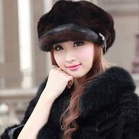 Настоящий русский Для женщин Whloe норки шляпа вся кожа Solid Hat Higt качества шапка Fama Роскошные Кепки норки Skulli шапочки шляпа H #44