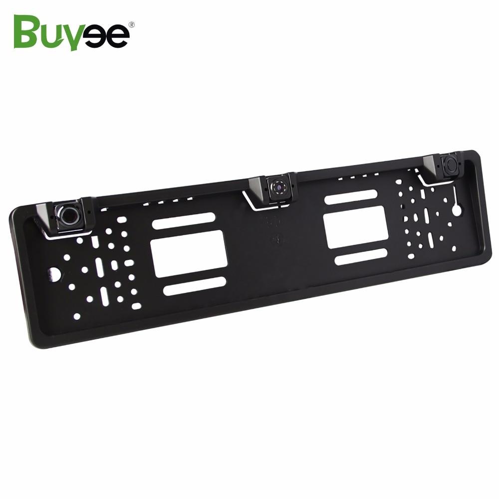 Buyee Vehicle Parking Sensor System 3 Sensors + Car Rear View Reverse Parking Camera EU License Number Plate Frame Park Sensoru