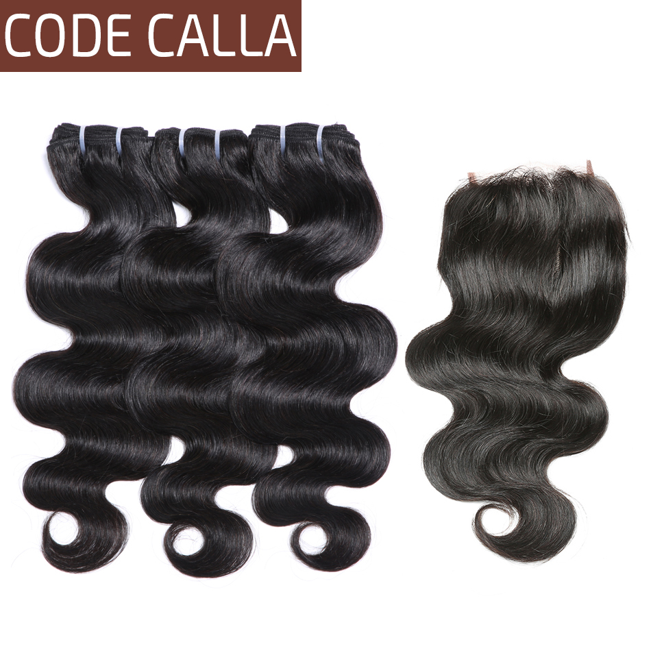 Code Calla Body Wave Bundles with Closure Brazilian Raw Pre colored Virgin Human Hair Weave 3