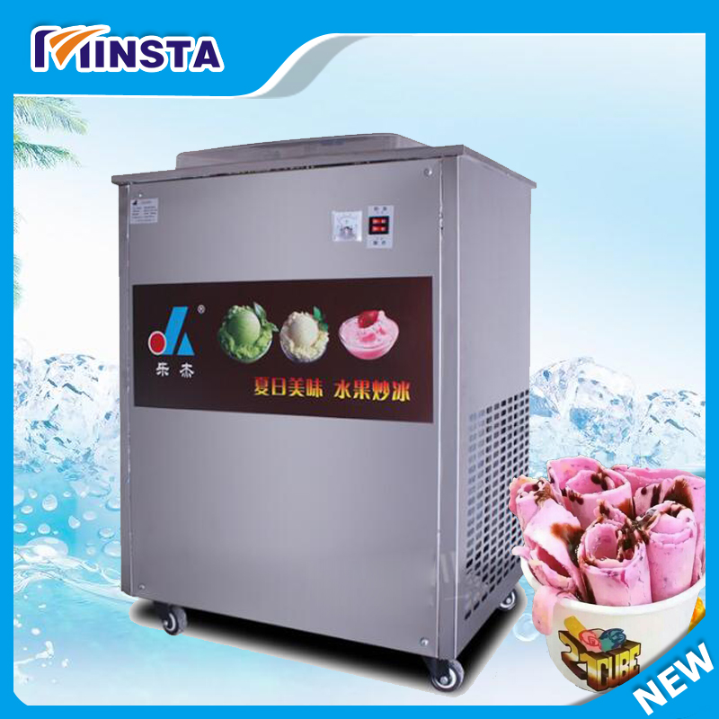 Full Stainless steel One Pan Fried ice cream roll machine pan Fry flat ice cream maker yoghourt fried ice cream machine 2017 single pan fried ice cream roll machine economical model square pan fried ice machine fry yoghourt machine