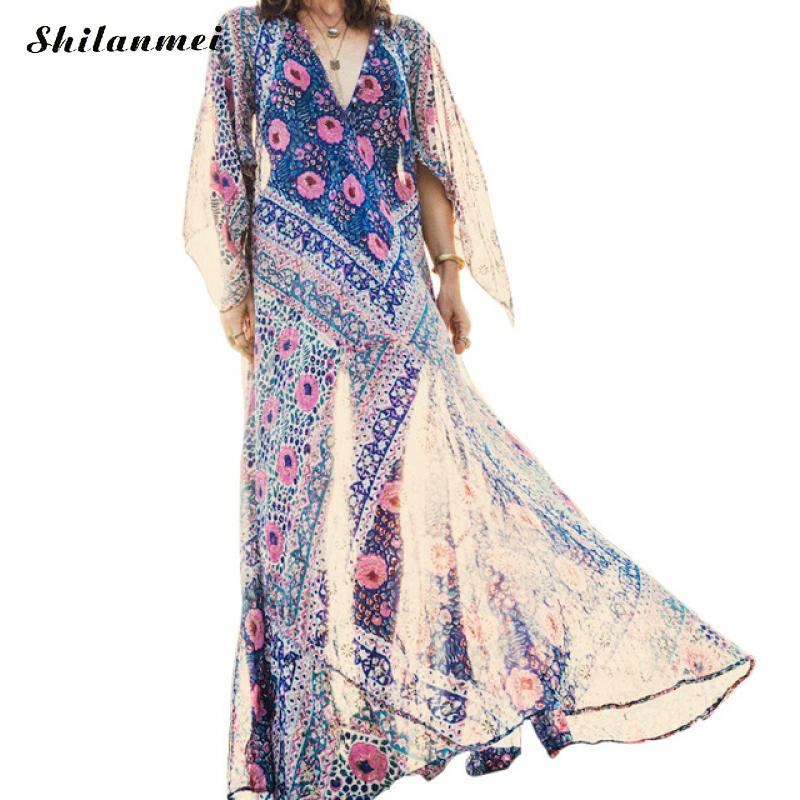 Sexy Bohemian Dress Deep V Neck Chiffon Vintage Dress Floral Print Beach Boho Dress Flare Sleeve Big Swing Maxi Dresses Vestidos in Dresses from Women 39 s Clothing