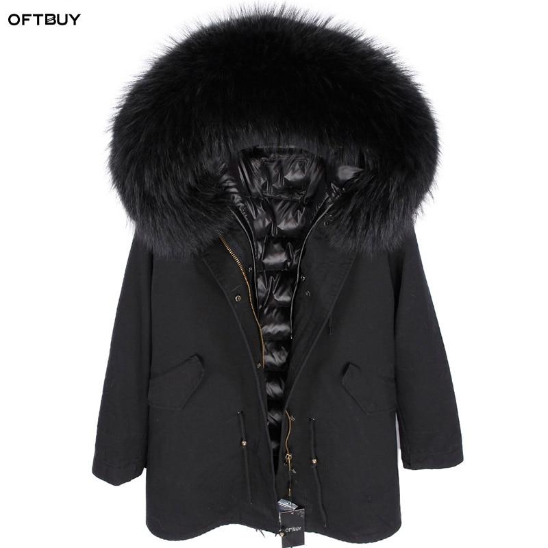 OFTBUY 2019 Real Fur Coat Winter Jacket Women Long Parka Natural Fox Fur Collar Hood Faux Fur Liner Loose Coat Ins Fashion New