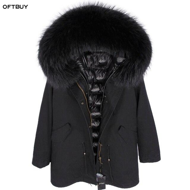 OFTBUY 2020 Real Fur Coat Winter Jacket Women Long Parka Natural fox Fur Collar Hood faux Fur Liner loose coat ins fashion new