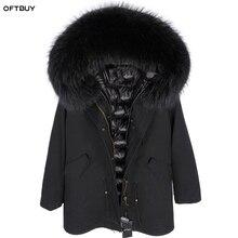 Oftbuy 2020 casaco de pele real casaco de inverno das mulheres longo parka natural gola de pele de raposa capuz forro de pele do falso casaco solto ins moda nova