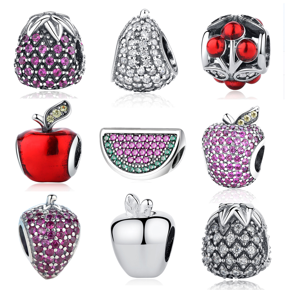 Authentic 925 Sterling Silver Fruit DIY Beads Watermelon Pineapple Apple Cherry Fit Original Pandora Bracelets CZ Crystal Charms