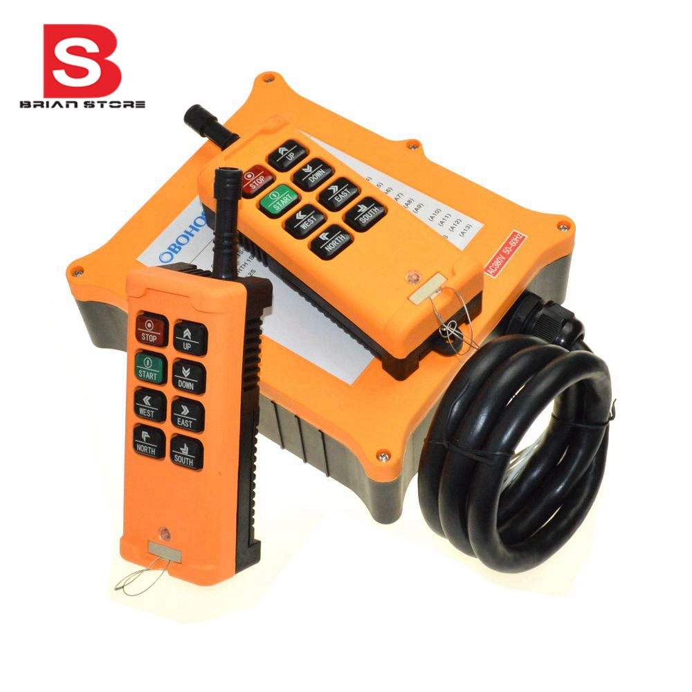 380VAC 2 Speed 2 Transmitters 8 Channels Truck Hoist Crane Winch Radio Remote Control System Controller
