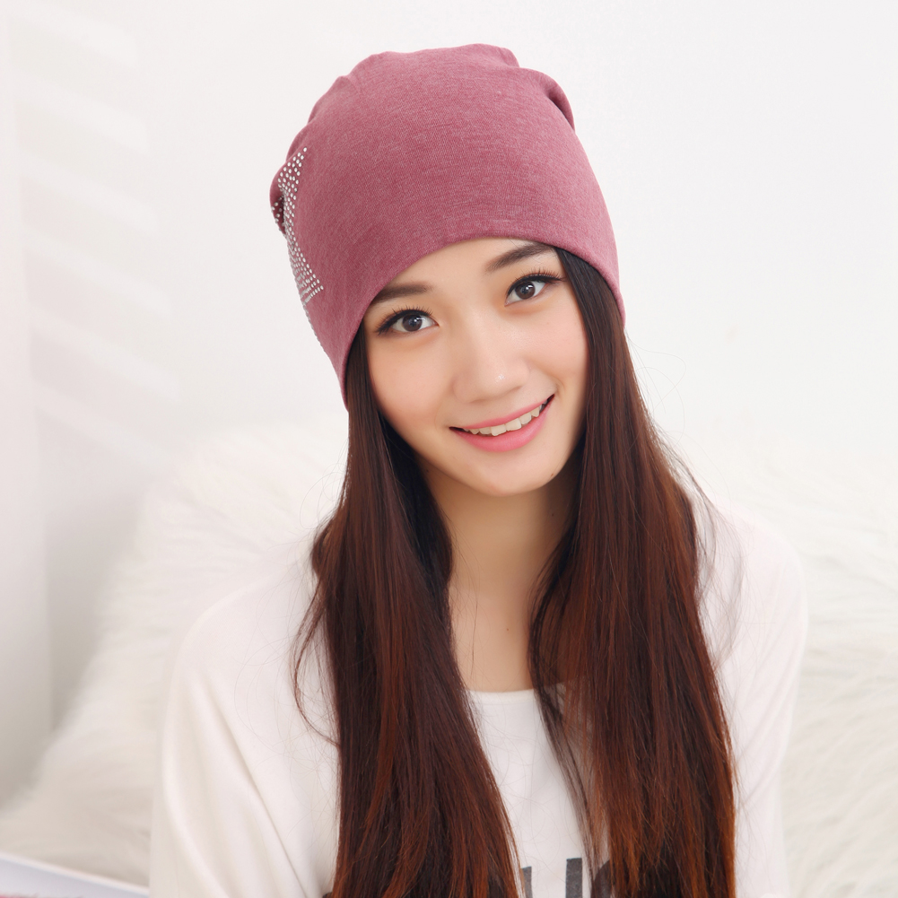 5Colors New Autumn Fashion New Knit Baggy Beanie Hat with Star Female Warm Winter Hats for Girls Women Beanies Bonnet Head Cap free shipping fashion 2014 new winter beanies for man women woolen knitted baggy hats casual cap warm hats autumn 5colors