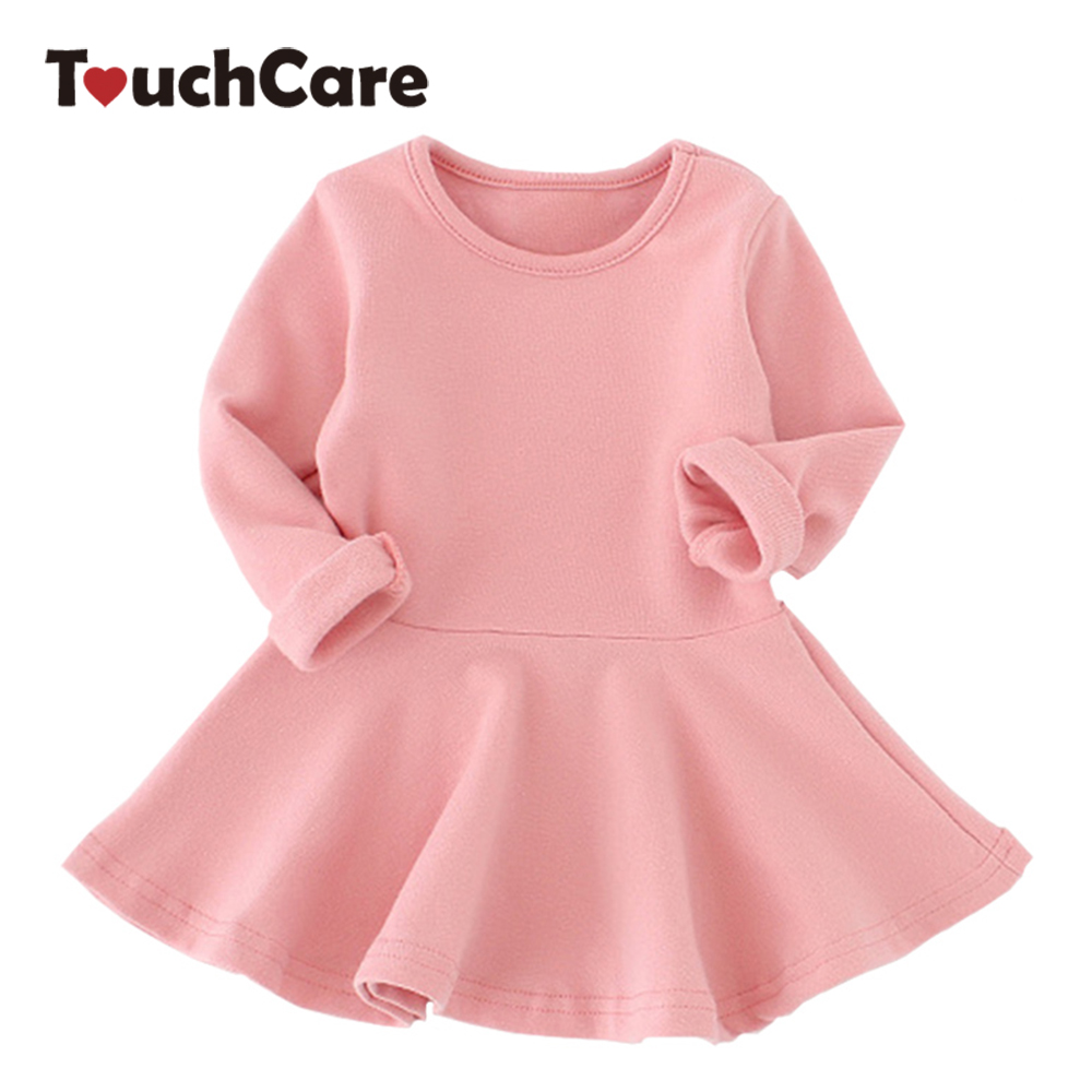 Spring Autumn Candy Color Cotton Baby Girl Dresses Long Sleeve Solid Princess Dress Bow-knot O-neck Casual Kids Pleated Dresses wbctw long velvet dress autumn spring elegant dresses fashion long sleeve high waist v neck sexy women casual maxi plus size