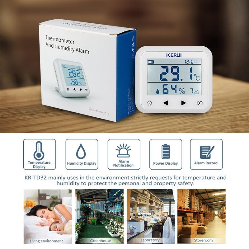 KERUI TD32 LED-skjerm Justerbar temperatur og fuktighet Alarmsensor - Sikkerhet og beskyttelse - Bilde 2