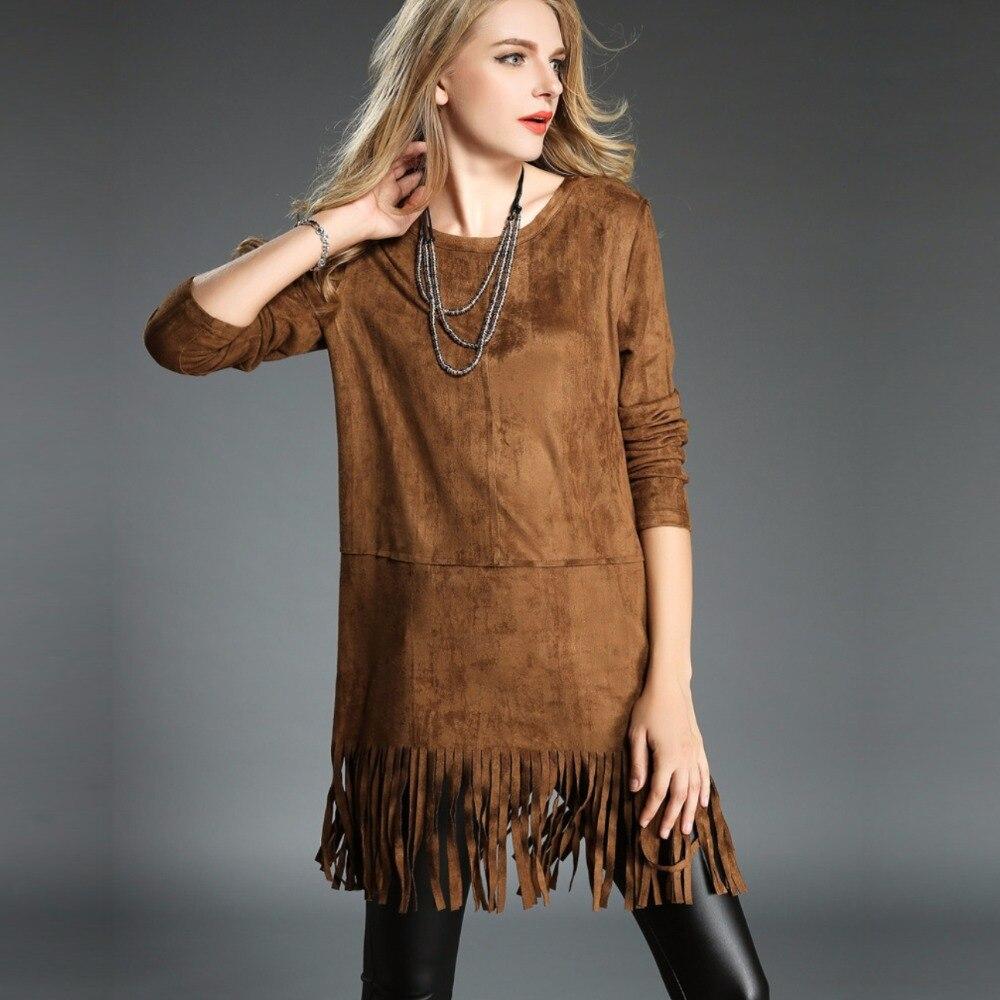Ladies Fashion Long Sleeve Fringe Tassel Dresses High ...