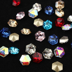 8x8mm Hexagonal Crystal Stone Glass glue on rhinestones for clothes stones decor garment applique accessories strass crafts
