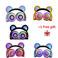 Rechargeabl Glowing Flashing Bear Headphones with 3 Level LED Light Stereo Bear Ears Earphone 90 Degree Foldable For Phone
