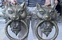 17 Folk China Feng Shui Bronze Evil Spirits Tiger Head Statue Door Knocker Pair Sculpture statues unicornio garden decoration
