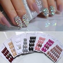 Белый матовый розовый пресс на ногтях Bling crystal Nail Art Бургундия заостренный черный ложный стилет для ногтей серый телесный с наклейками 24 шт