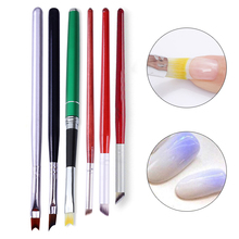 1Pc Acrylic French Tip Brush Silver Black Handle Half Moon Shape Manicure Tool Gradient Drawing Brush Painting Pen 6 Patterns