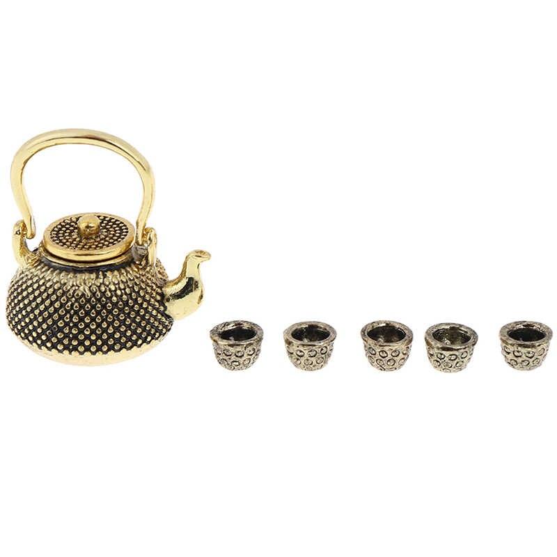 1: 12 Furnitur Rumah Boneka Miniatur Makan Ware Mainan 8 Pcs Logam Tea Set Teko Piala Piring Panjang 6.5 Cm