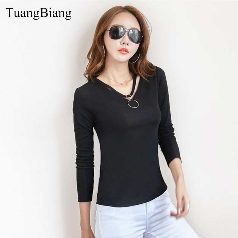 TuangBiang, осень 2018, v-образный вырез, выдалбливают, цвета хаки, футболки для женщин, длинный рукав, черная сексуальная хлопковая футболка, женские топы, camiseta mujer