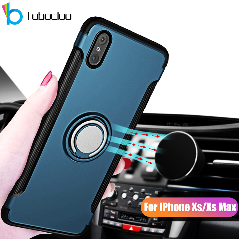 Shockproof Case Voor Apple Iphone Xs Max Xr Xs 7 8 Plus 6 6 S X 5 5 S Se Auto Houder Stand Magnetische Beugel Vinger 360 Ring Cover