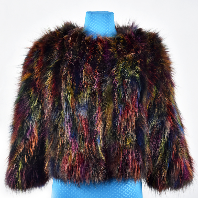 2018 new spring real racoon fur coat jacket colorful short fashion women natural fur coat thick warm fur street short style