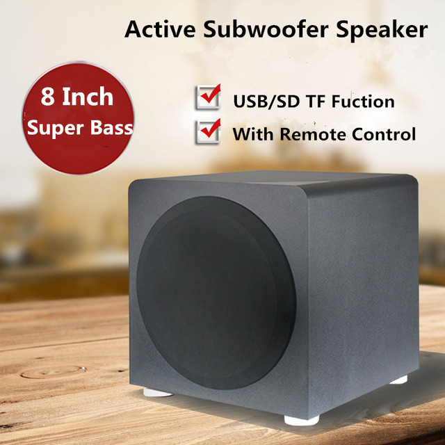 120W Active Subwoofer Speaker Sound Box Home Theater Bookshelf Heavy Bass Wooden Speakers For